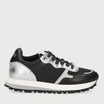 LIU JO Black and Silver Leather and Mesh Sneakers