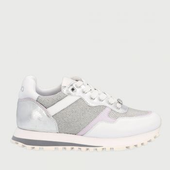 LIU JO Mesh and Leather White - Silver Sneakers