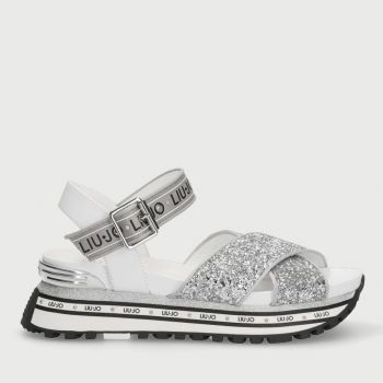 LIU JO Silver Platform Sandals with Glitter
