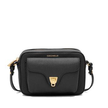 COCCINELLE Beat Soft Line – Mini Black Leather Crossbody Bag