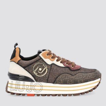 LIU JO Brown Mesh Suede Sneakers with Monogram Print