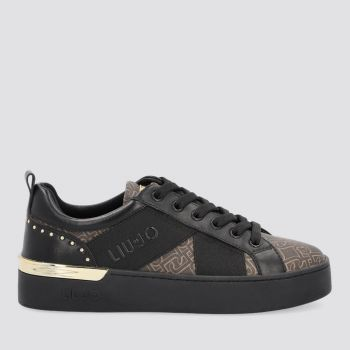 LIU JO Brown Sneakers with Monogram Logo and Black Bands