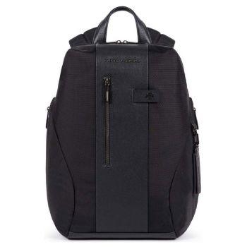 PIQUADRO Backpack линия Brief 2 из ткани и кожи черного цвета - CA5478BR2