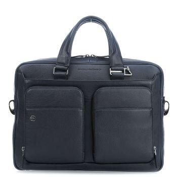Портфель для ноутбука 14 дюймов и планшета PIQUADRO Black Square line CA2849B3 в синей коже