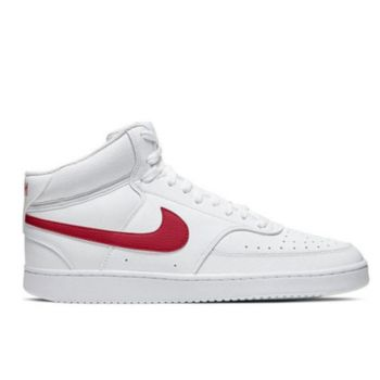 NIKE Court Vision Mid Line – White Red Leather Sneakers