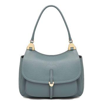 COCCINELLE Fauve Line – Shark Grey Leather Shoulder Bag for Her