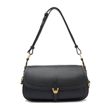 COCCINELLE Fauve Line – Small Black Leather Shoulder Bag for Her