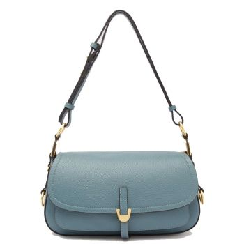 COCCINELLE Fauve Line – Small Shark Grey Leather Shoulder Bag for Her