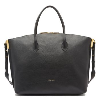COCCINELLE Estelle Line – Black Leather Hobo Bag
