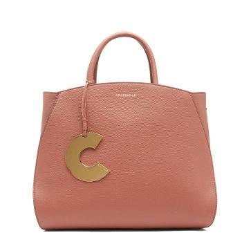 COCCINELLE Concrete Line – Medium Cinnamon Leather Handle Bag