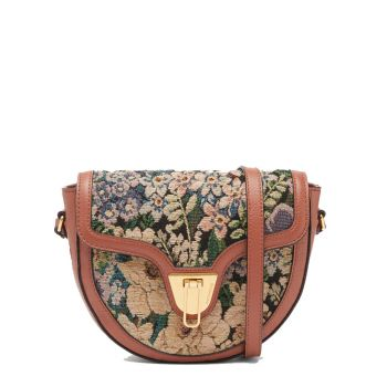 COCCINELLE Beat Saddle Small Tapestry Line – Leather Crossbody Bag for Her
