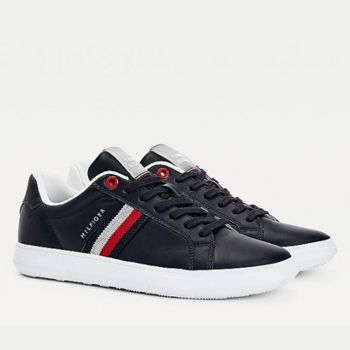 TOMMY HILFIGER Essential Cupsole Line – Blue Leather Sneakers For Men