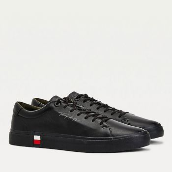 TOMMY HILFIGER Modern Line – Black Leather Sneakers