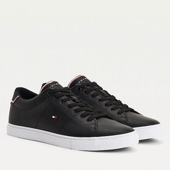 TOMMY HILFIGER Essential Line – Black Leather Sneakers