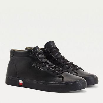 TOMMY HILFIGER Modern Line – Black Leather Sneakers for Men