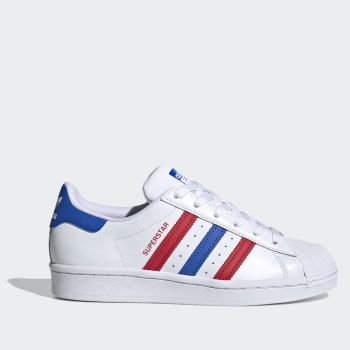 ADIDAS Superstar J Line – White Sneakers with Red and Blue Stripes
