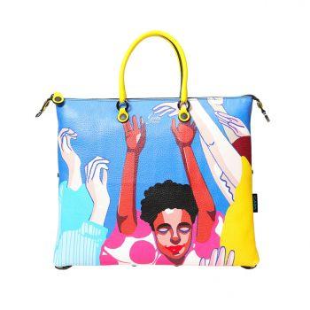 GABS G3 Super Line Medium Leather Handle Bag with Friends Print