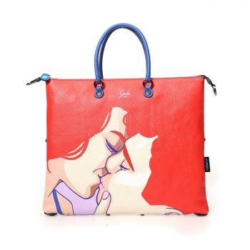 GABS G3 Super Line Large Leather Handle Bag with Kiss Print