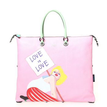 GABS G3 Super Line Large Leather Handle Bag with Love is Love Print