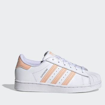 ADIDAS Superstar C Line – White Coral Leather Sneakers for Kids