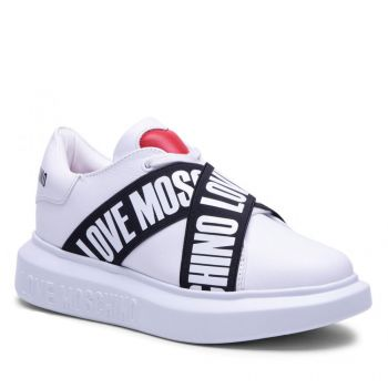 LOVE MOSCHINO White Leather Sneakers with Elastic Logo Bands