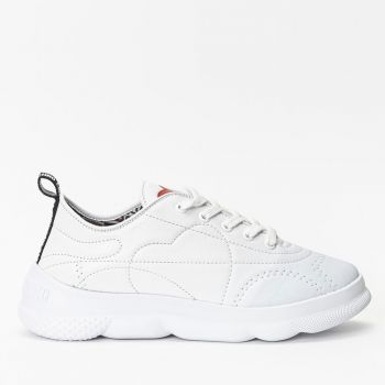 LOVE MOSCHINO White Leather Sneakers with Embroidery Details