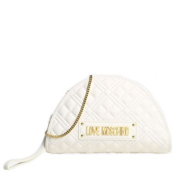 LOVE MOSCHINO New Shiny Line – White Clutch with Quilted Effect