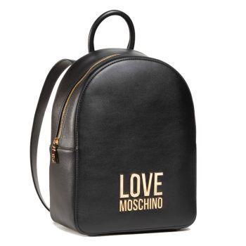 LOVE MOSCHINO Gold Metal Logo Line – Black Backpack