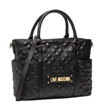 LOVE MOSCHINO New Shiny Quilted Line – Black Shoulder Bag