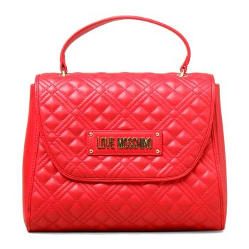 LOVE MOSCHINO Red Handle Bag  with Quilted Effect and LM Logo