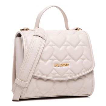 LOVE MOSCHINO Heart Quilted Line – Ivory Handle Bag