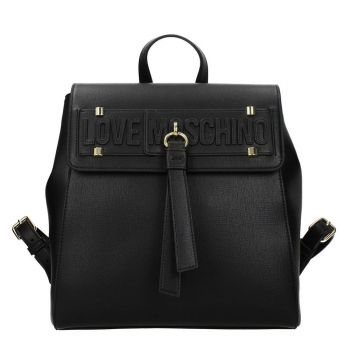 LOVE MOSCHINO Black Backpack with Flap Closure JC4273