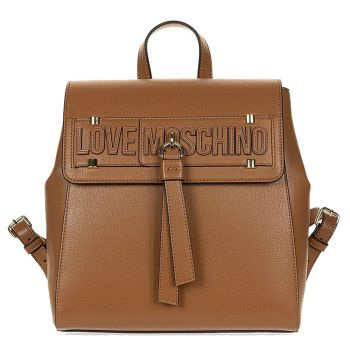 LOVE MOSCHINO Brown Backpack with Flap Closure JC4273