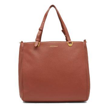 COCCINELLE Lea Line – Medium Cinnamon Leather Shoulder Bag for Her