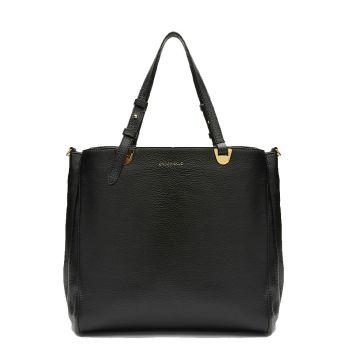 COCCINELLE Lea Line – Medium Black Leather Shoulder Bag for Her