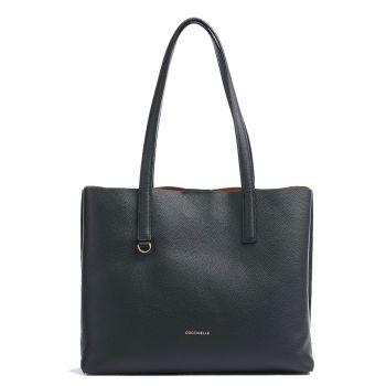 COCCINELLE Matinee Line – Black Caramel Leather Shoulder Bag for Her