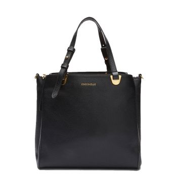 COCCINELLE Lea Line – Small Black Leather Handle Bag for Her