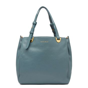 COCCINELLE Lea Line – Small Shark Grey Leather Shoulder Bag for Her
