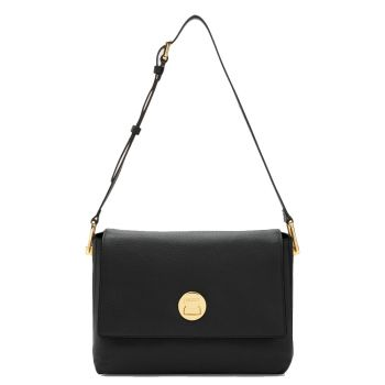 COCCINELLE Liya Line – Medium Black Leather Shoulder Bag for Her