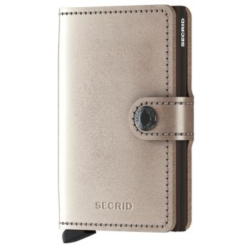 Miniwallet SECRID Metallic line Champagne Genuine Leather with RFID