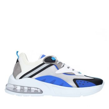 D.A.T.E. Aura Otter Line – White Blue Fabric Sneakers