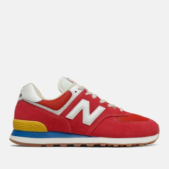 NEW BALANCE 574 Line – Red Wave Blue Suede and Mesh Team Sneakers
