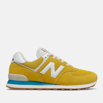 NEW BALANCE 574 Line – Varsity Gold Deep Sky Suede and Mesh Sneakers for Men