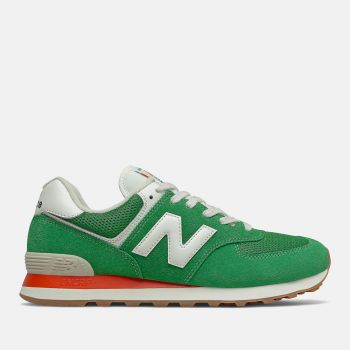 NEW BALANCE 574 Line – Varsity Green Velocity Red Suede Mesh Sneakers for Men
