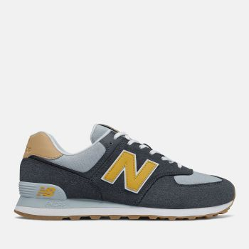 NEW BALANCE 574 Line – Outerspace Varsity Gold Suede and Fabric Sneakers