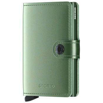 Miniwallet SECRID Metallic line Green Genuine Leather with RFID