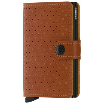 SECRID Miniwallet Perforated Cognac Leather with RFID