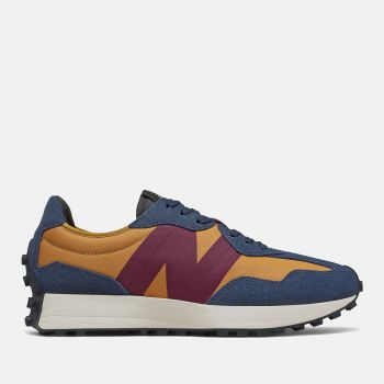 NEW BALANCE 327 Line – Natural Indigo Burgundy and Tan Suede Nylon Sneakers