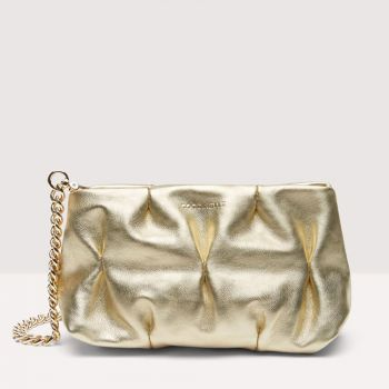 COCCINELLE Ophelie Line – Mini Shiny Gold Smooth Leather Pouch for Her