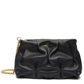 COCCINELLE Ophelie Line – Medium Black Smooth Leather Pouch for Her